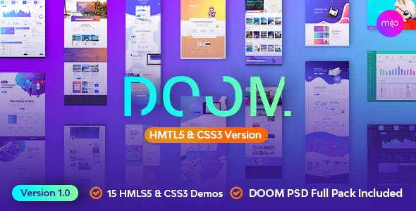 Doom - Massive All in One HTML5, CSS3 & Bootstrap 4+ Template by milothemes