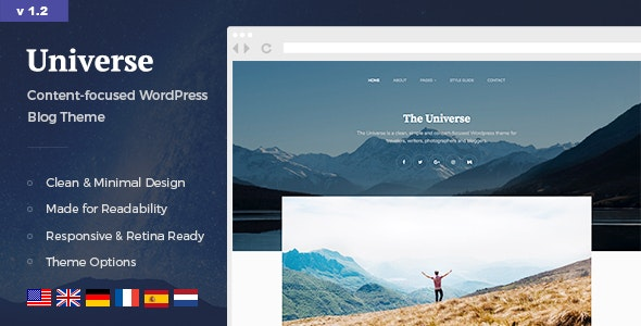 Universe - Clean & Minimal WordPress Blog Theme - Personal Blog / Magazine