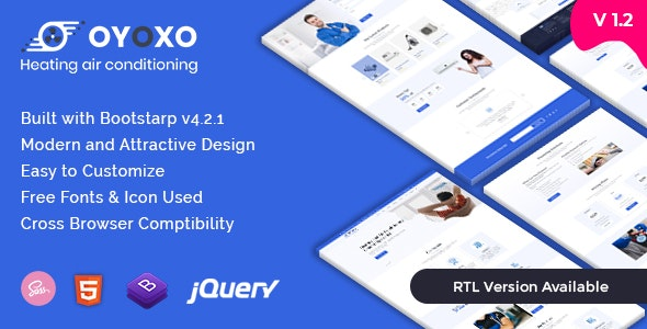 Oyoxo - Heating Air-conditioning Services HTML Template + RTL - Business Corporate