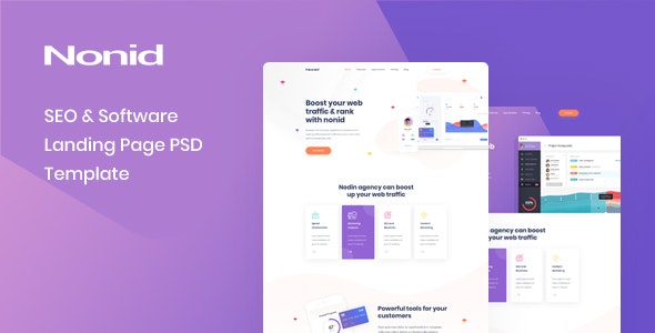 Nonid - SEO & Software Landing Page PSD Template - Technology PSD Templates