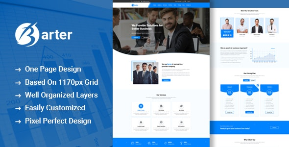 Barter - One Page Business PSD Template - Business Corporate