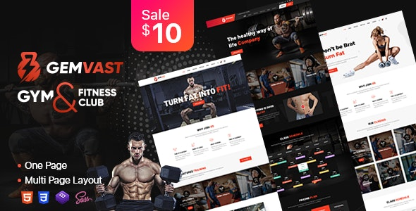 Gemvast - Gym Fitness Club Multi, Onepage Html template - Health & Beauty Retail