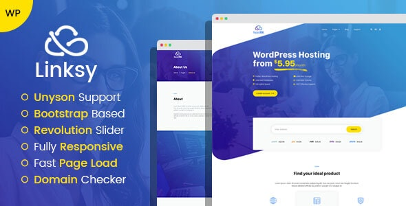 Linksy - domain and hosting provider WordPress theme - Hosting Technology