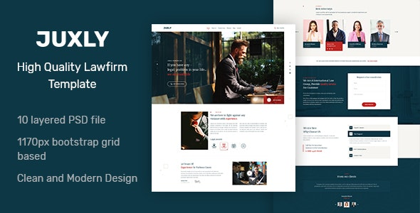 Juxly Law Firm PSD Template - Corporate PSD Templates