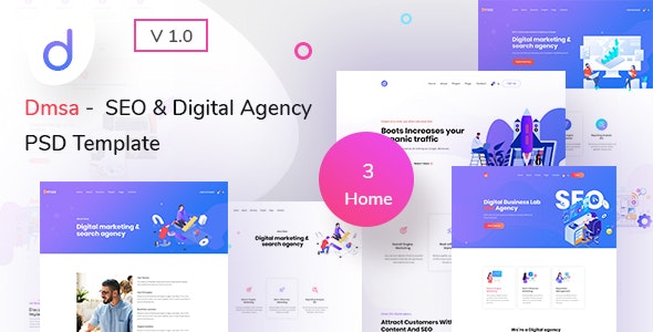 Dmsa - SEO & Digital Agency PSD Template - Creative Photoshop