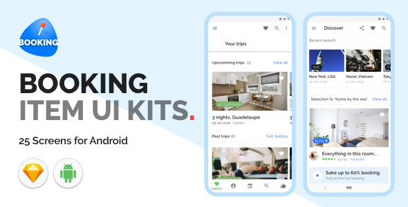 Booking Item UI Kits - Sketch Templates