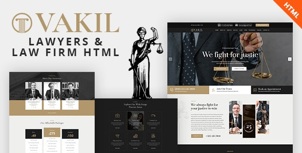 VAKIL - Lawyers Attorneys and Law Firm HTML Template - Business Corporate