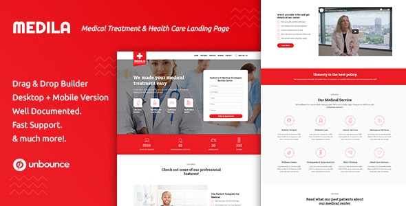 Medila - Medical Treatment & Health Care Unbounce Landing Page Template - Unbounce Landing Pages Marketing