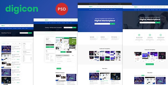 Digicon - Digital Content Marketplace PSD Template - Business Corporate