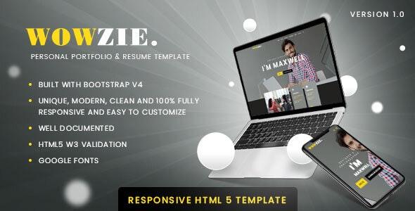 WOWZIE - Personal Portfolio & Resume Template - Personal Site Templates
