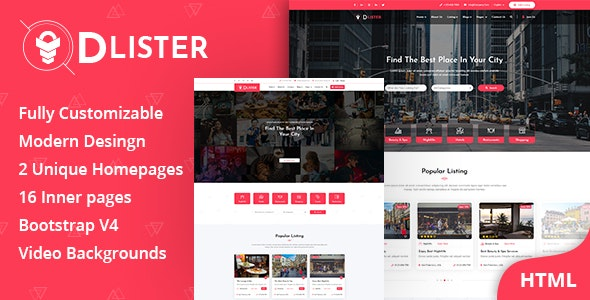 Dlister - Directory Listing HTML Template - Business Corporate