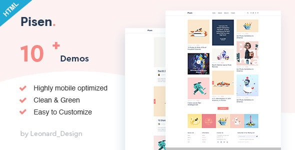 Pisend | Minimalism Blog HTML5 Template - Personal Site Templates