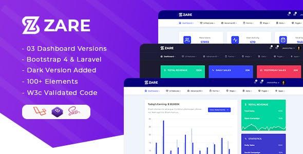 Zare - Bootstrap 4 + Laravel Admin Dashboard Template