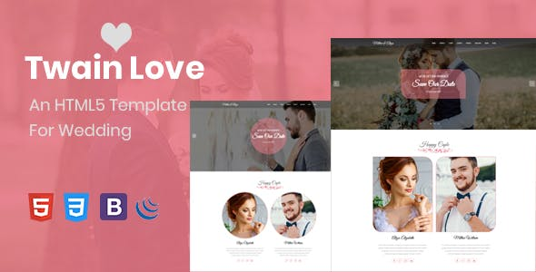 Twain Love - Responsive HTML5 Wedding Template nulled theme download