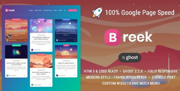 Breek - a masonry theme for Ghost nulled theme download