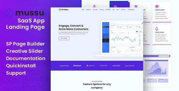 Mussu - SaaS App Landing Page Joomla Template - Technology Joomla