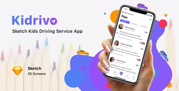 Kidrivo - Sketch Kids Driving Service App - Sketch Templates