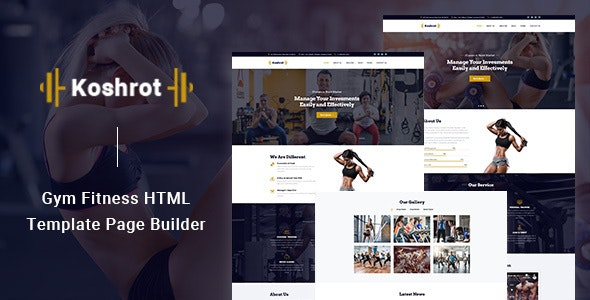Koshrot - Gym Fitness HTML Template with Page Builder - Health & Beauty Retail