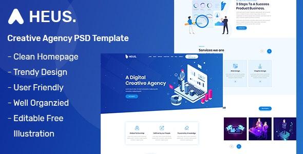 Heus - One Page Creative Agency PSD Template - Creative PSD Templates