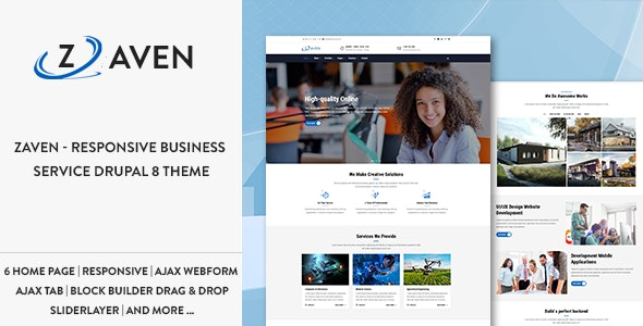 Zaven - Responsive Business Service Drupal 8.7 Theme - Business Corporate
