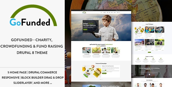 Gofunded - Charity, Crowdfunding & Fund Raising Drupal 8.7 Theme - Nonprofit Drupal