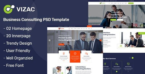Vizac - Business Consulting PSD Template - Business Corporate