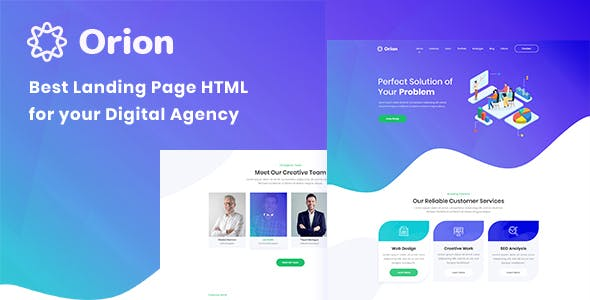 Orion - One Page Digital Agency HTML Template - Technology Site Templates
