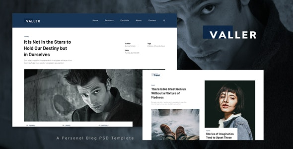 Valler - Personal Blog PSD Template - Personal Photoshop