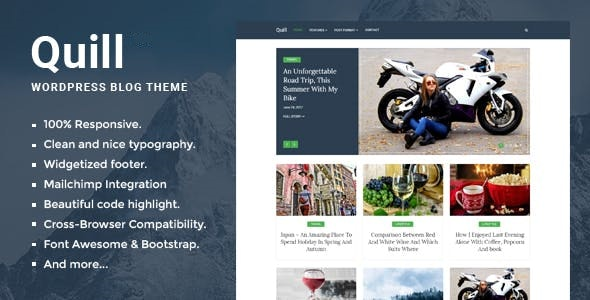Quill Blog - Responsive Minimal WordPress theme - Personal Blog / Magazine