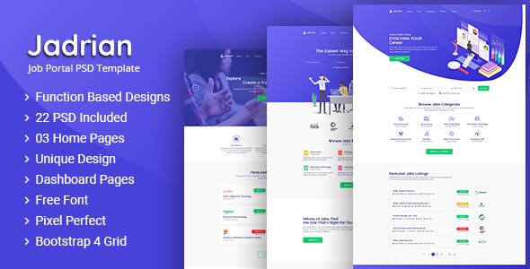 Jadrian - Job Portal PSD Template - Business Corporate