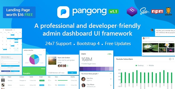 Pangong - Developer-friendly Bootstrap 4 Admin Dashboard + UI Kit - Admin Templates Site Templates