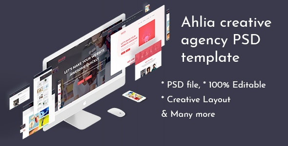 Ahlia - Creative Agency PSD Template - Creative PSD Templates