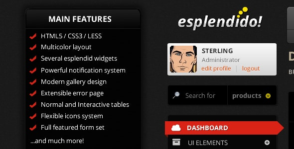 Esplendido! Premium Admin Template - Admin Templates Site Templates