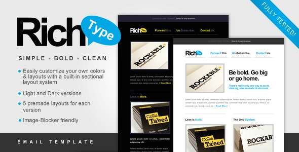 Rich Typography Email Template - Newsletters Email Templates