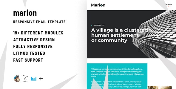 Marion – Responsive HTML Email + StampReady, MailChimp & CampaignMonitor Compatible Files - Email Templates Marketing