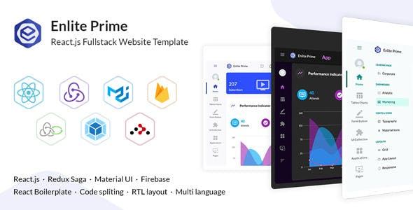 Enlite Prime - React Admin Dashboard Template For Full-Stack Developer - Admin Templates Site Templates