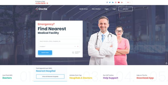 Doctie - Medical and Doctor Directory PSD Template
