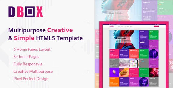 Dbox Multipurpose HTML5 Template - Creative Site Templates