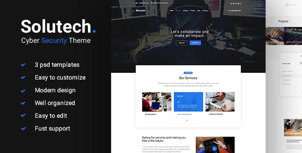Solutech - Cyber Security PSD Template - Business Corporate