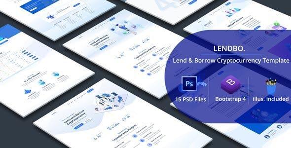 Lendbo - Lend and Borrow Cryptocurrency PSD Templates - Marketing Corporate