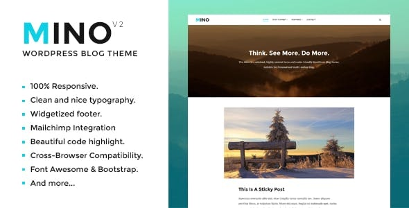 Mino Blog - Content Focused WordPress Theme - Personal Blog / Magazine
