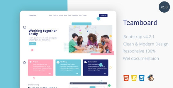 Teamboard Landing Page Template - Creative Site Templates