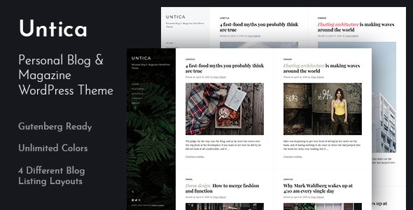 Untica - Personal Blog & Magazine WordPress Theme - Personal Blog / Magazine