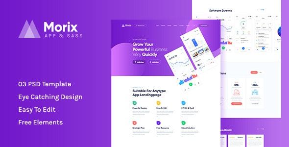 Morix - Sass & App Landing PSD Template - Software Technology