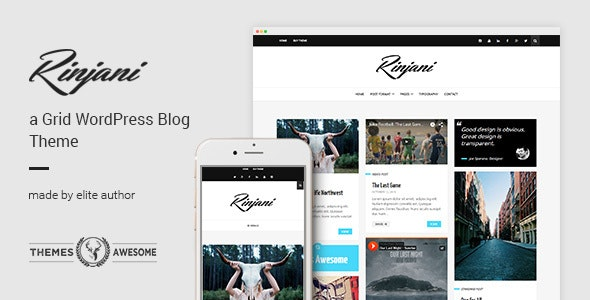 A Responsive Grid Blog Theme - Rinjani by themesawesome
