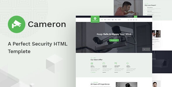 Cameron - Home Automation, CCTV, Security HTML Template - Business Corporate