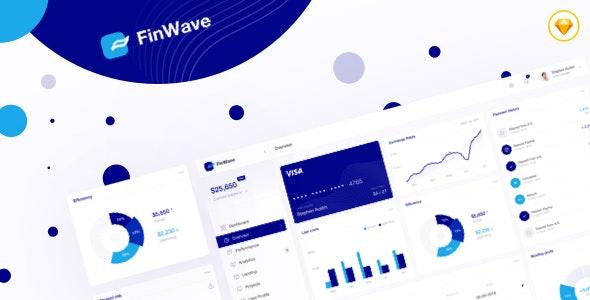 FinWave — Finance dashboard UI Kit - Sketch UI Templates