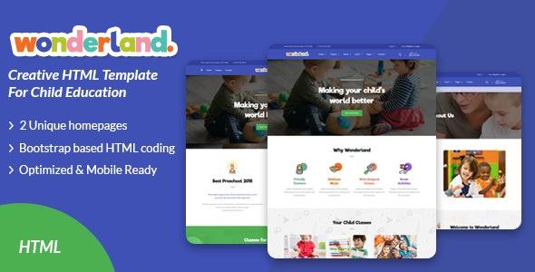 Wonderland - Kindergarten & Preschool HTML Template - Nonprofit Site Templates
