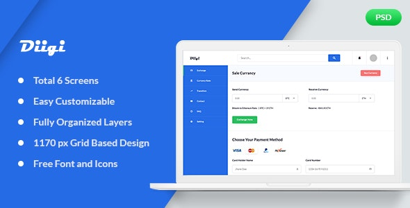 Diigi – Currency Exchange Web App PSD Template - Photoshop UI Templates