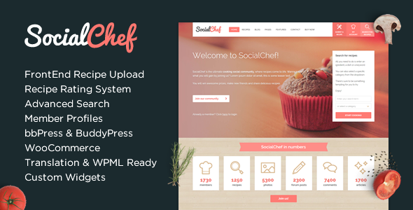 SocialChef - Social Recipe WordPress Theme - BuddyPress WordPress